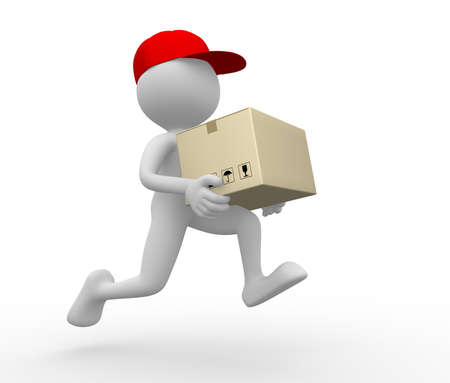 paper delivery person: 3d people - man, person with a package. Postman, delivery.