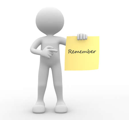 """3d les gens - homme, personne avec un papier jaune et le mot """"se souviennent"""""""
