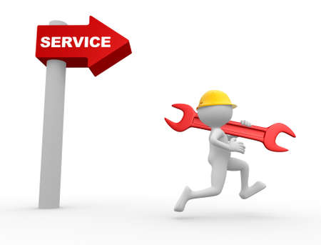 3d people - man, person with a wrench. Arrow and the word service.  Stock Photo