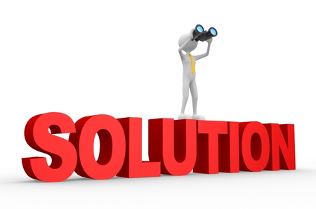 3d people - man, person with a binocular and word SOLUTION. Solution concept.  Stock Photo - 20884799