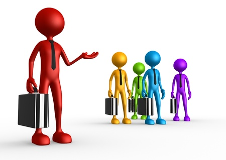 executive board: 3d people - man, person with briefcase. Leadership and team. My team