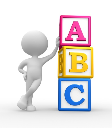 abc blocks: 3d people - man, person with a cubes and ABC