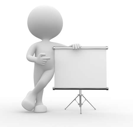 3d people - man, person with flip chart.  Stock Photo