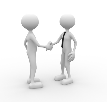 3d people - man, person shaking hands. Deal photo