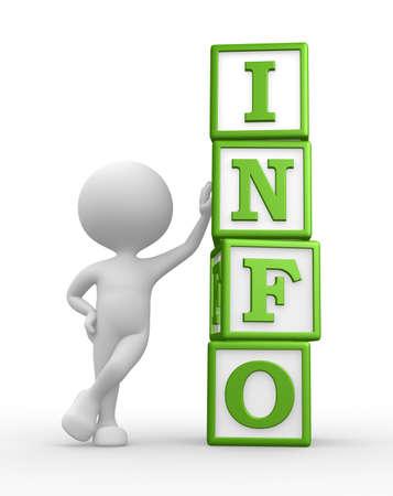 3d personnes - homme, personne avec un cubes et mot INFO Banque d'images