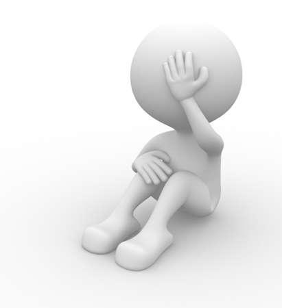 ashamed: 3d gente - hombre, persona - el dolor, preocupados. Sad. Concepto de estr?s, depresi?n.