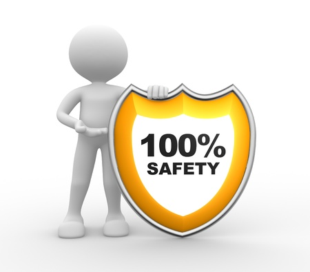 safe guard: 3d people - man, person with a shield. 100% SAFETY  Stock Photo
