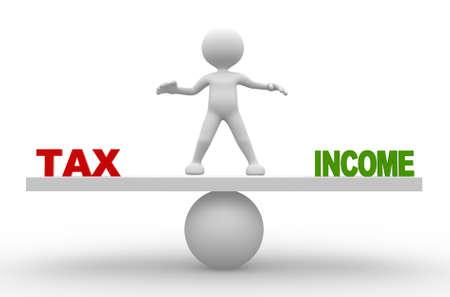 3d les gens - homme, personne avec le mot «taxe» et «revenu» à l'échelle de l'équilibre Banque d'images