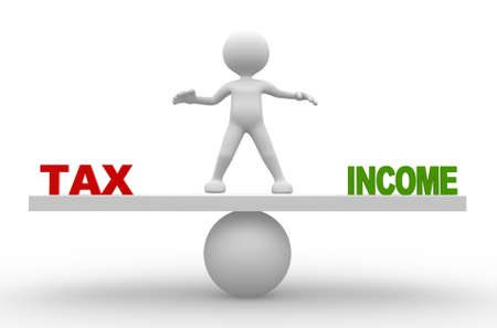 financing: 3d people - man, person with word tax and income on balance scale