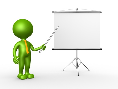 3d people - man, person with a flip chart  photo