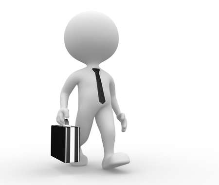 3d people - man, person with a briefcase. Businessman