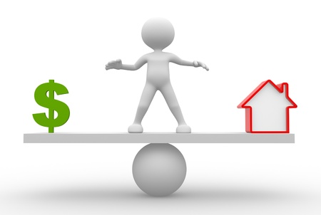 buy house: 3d people - man, person in balance. Dollar sign or house