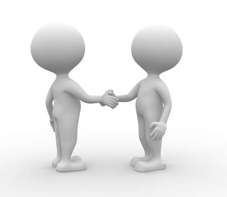 3d people - man, person partnership - handshake.