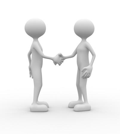 3d people - man, person partnership - handshake.  photo