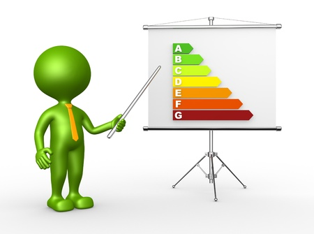 3d people - man, person pointing a energy efficiency rating. Flip chart Stock Photo