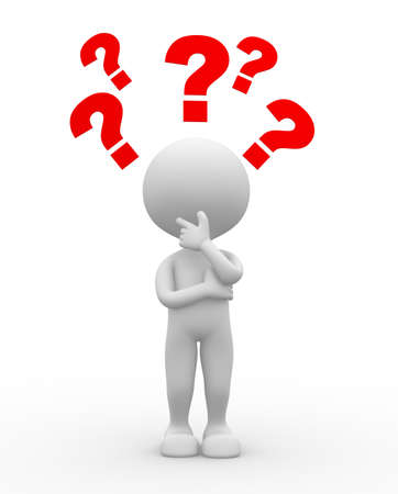 hombre: 3d gente - hombre, persona y signo de interrogación. Confusión