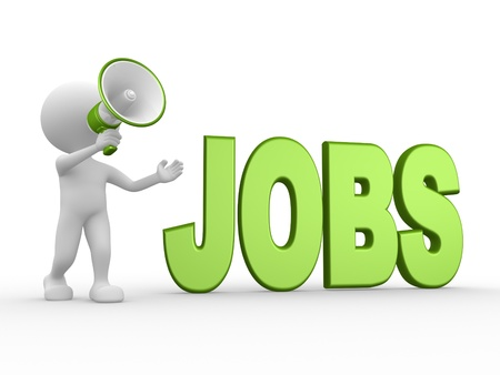 3d people - man, person with a megaphone and word JOBS Stock Photo - 21138690