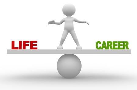 life balance: 3d people - man, person in balance. Life or career