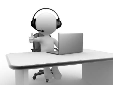 3d personnes - homme, personne avec un casque avec microphone et un ordinateur portable.