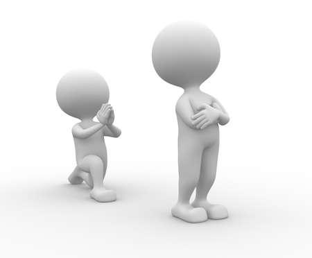 arrodillarse: 3d gente - hombre, persona de rodillas pidiendo perdón