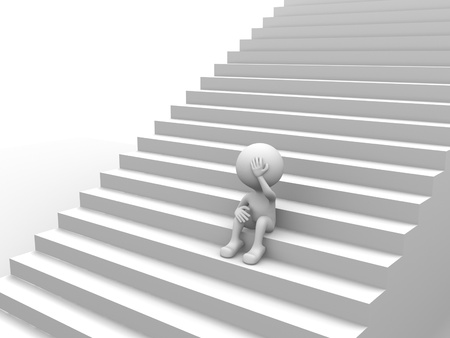 3d people - man, person with stairs. Depressing  photo