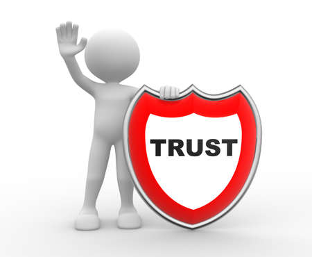 trust people: 3d people - man, person with a shield. Trust