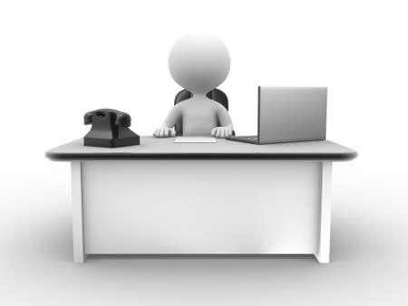 3d les gens - homme, personne à un bureau avec un ordinateur portable Banque d'images