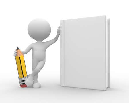 libro caricatura: 3d gente - hombre, persona con el libro blanco y un lápiz