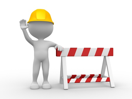 construction barrier: 3d people - man, person and under construction