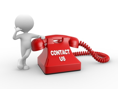 helpdesk: 3d people - man, person and red phone  Contact us