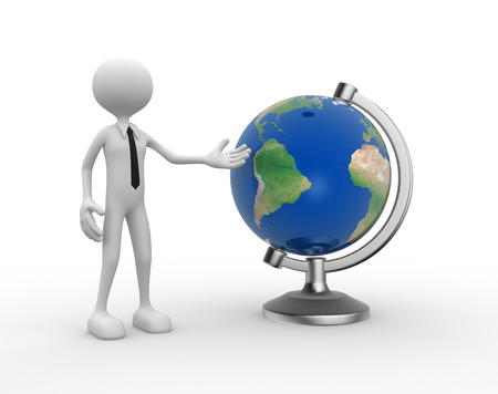 3d people - man, person present a earth globe.  photo