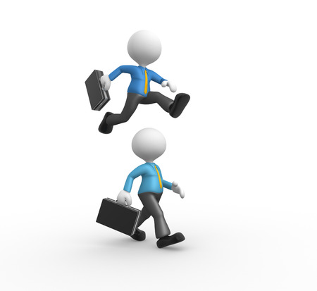 hurdle: 3d people - man, person jumping over someone else  Stock Photo