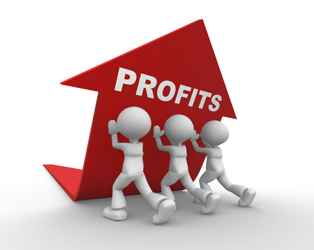 3d people - men, person pushing red arrow. Concept of profits