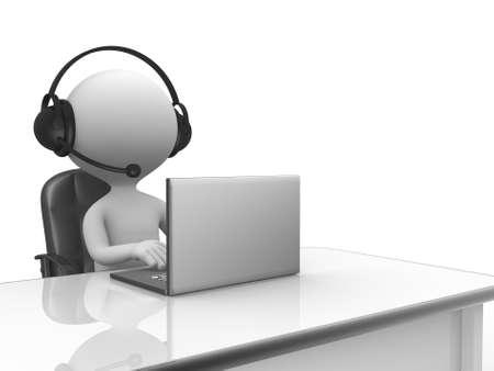 3d les gens - homme, personne avec un casque avec microphone et un ordinateur portable.