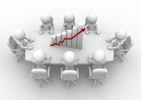 person sitzend: 3D-Menschen - M�nner, Menschen sitzen an einem runden Tisch und Finanzdiagramm - Diagramm
