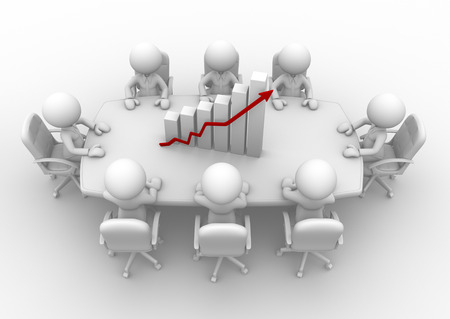 stockholder: 3d people - men, person sitting at a round table and financial chart - diagram  Stock Photo
