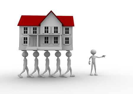 real people: 3d people - man, person carrying a model of house. Real estate