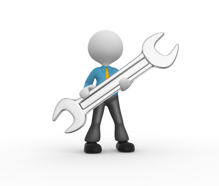 3d people - man, person with a wrench Stock Photo - 24836588