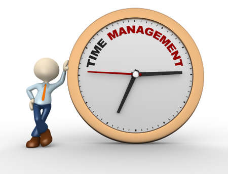 3d people - man, person with a clock and text  time time to management photo