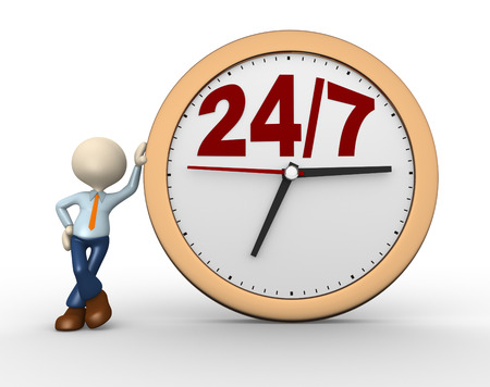 overnight delivery: 3d people - man, person with a clock and text  247   Stock Photo