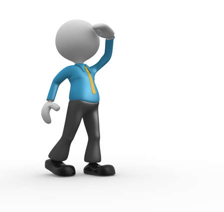person looking: 3d people - man, person looking. Vision. Search concept