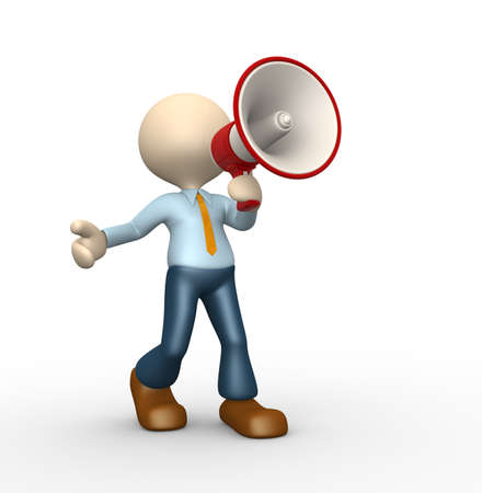 assert: 3d people - man, person with a megaphone Stock Photo