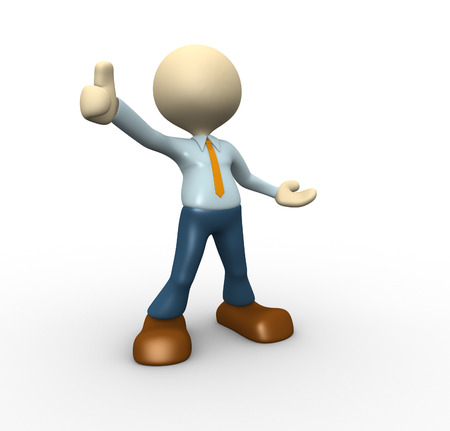 3d people - man, person  showing thumbs up sign. Stock Photo - 24898538