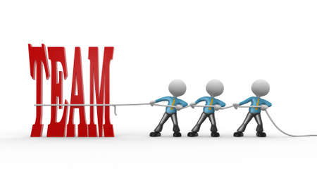 3d people - man, person with rope pulling and word team  photo