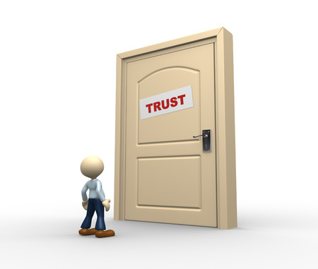 trust people: 3d people - man, person and a closed door with text trust