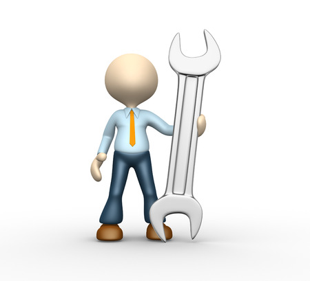 car maintenance: 3d people - man, person with a wrench. Businessman