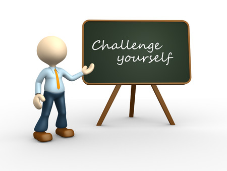 challange: 3d people - man, person with a blackboard. Challange yourself.