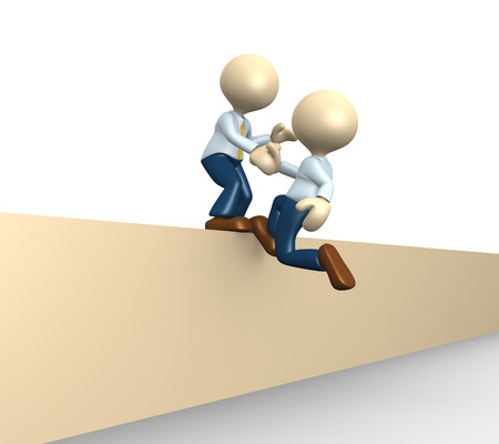 another: 3d people - man, person pulling another to reach the top. Helping Stock Photo