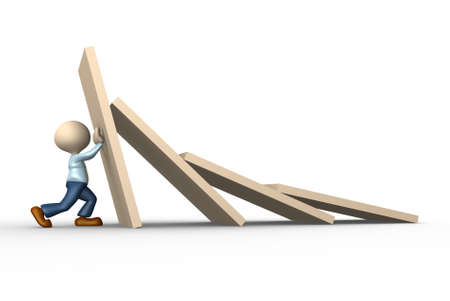 3d people - man, person stopping domino effect Stock Photo - 24906215