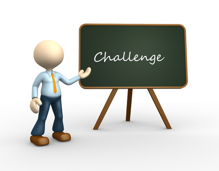 challange: 3d people - man, person with a blackboard. Conceptual challange